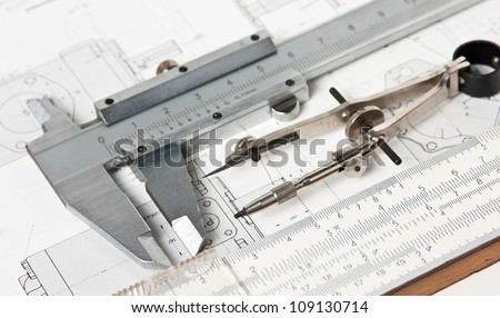 Engineering Tools On Technical Drawing Stock Photo & Image (Royalty ...