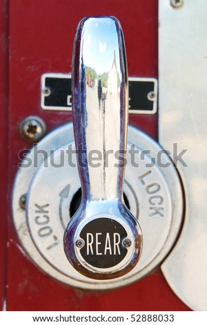 Engineers pump panel controls on a older fire engine sitting in an auction yard near Sutherlin Oregon - stock photo