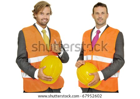 Engineers team isolated in white - stock photo