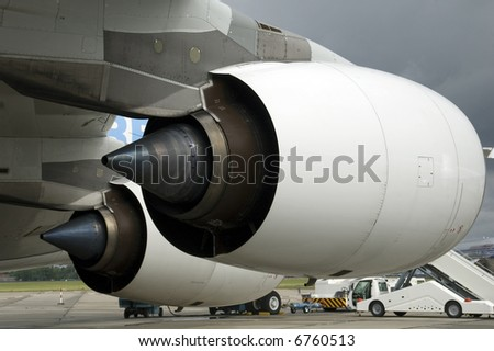 Engines of the Airbus A380 - stock photo