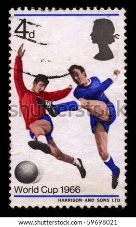 ENGLAND - CIRCA 1966: A stamp printed in ENGLAND shows soccer circa 1966. - stock photo