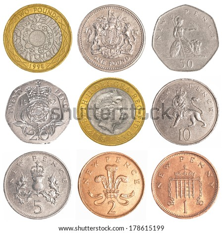 england circulating coins collection set  isolated on white background - stock photo