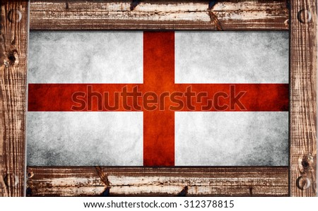 England flag on a grungy background inside a wooden frame - stock photo