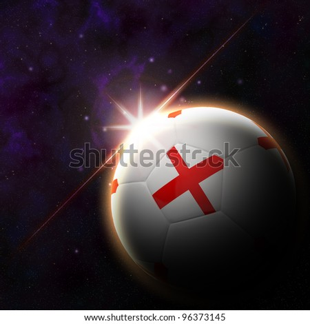 England flag on 3d football with rising sun illustration for Euro 2012 Group D - stock photo
