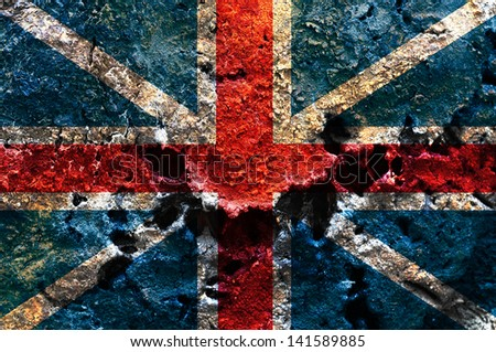 England flag painted on rusty metal plate - stock photo