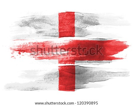 England flag painted on white paper with watercolor - stock photo