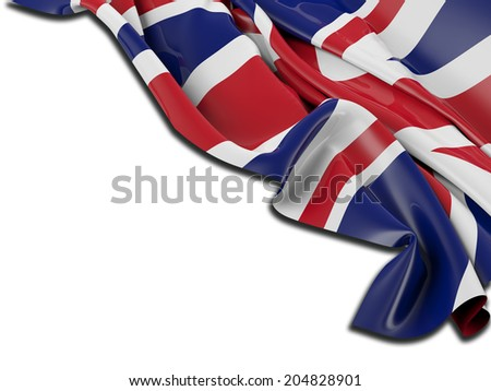 England Flag with white - stock photo