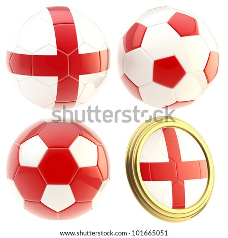 England football team set of four soccer ball attributes isolated on white - stock photo