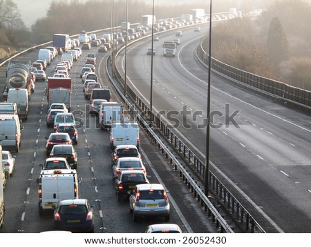 England January 2009:traffic jam on one side of M40 in Buckinghamshire - stock photo