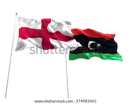 England & Libya Flags are waving on the isolated white background - stock photo