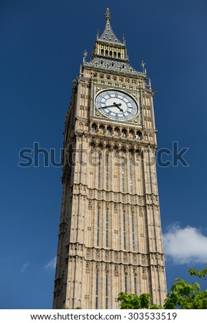 England, London - Big Ben, the great clock tower of the Houses of Parliament in London and its bell - stock photo