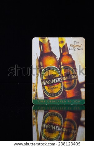 ENGLAND,LONDON - November 11, 2014: Beermat from Magners beer.Bulmers Irish Cider, branded as Magners Irish Cider outside the Republic of Ireland