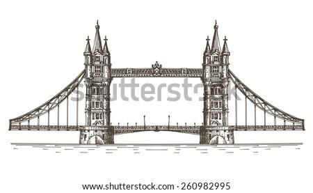 England, London, the bridge on a white background. sketch - stock photo