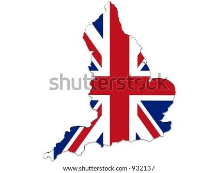 England map and UK Flag - stock photo