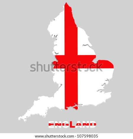 England, map with flag, isolated with clipping path, 3d illustration - stock photo