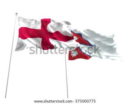 England & Nepal Flags are waving on the isolated white background - stock photo