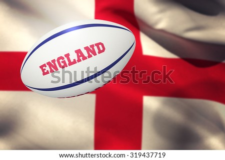 England rugby ball against england flag against white background - stock photo