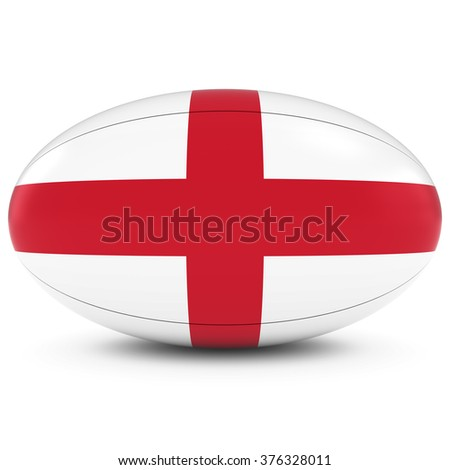 England Rugby - English Flag on Rugby Ball on White - stock photo