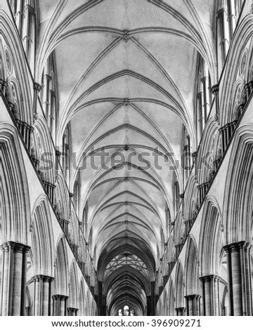 England, Salisbury - 27 March 2016: Salisbury Cathedral Nave Ceiling black and white photography