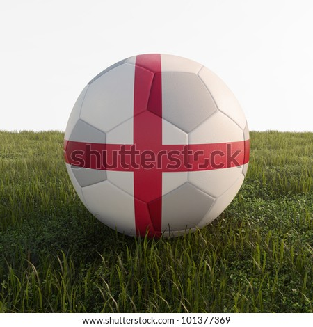 england soccer ball isolated on grass - stock photo