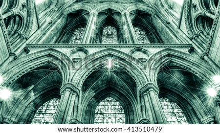 England, Truro - 06 Mar 2016: Truro Cathedral Arch low angle, Victorian architecture, HDR black and white photography