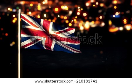 England UK National Flag City Light Night Bokeh Background 3D - stock photo