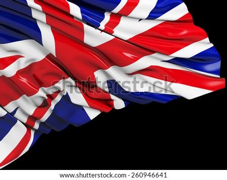England UK United Kingdom Flag with black - stock photo