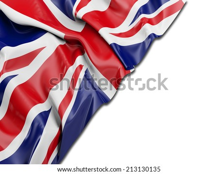 England UK Wavy Flag with white - stock photo