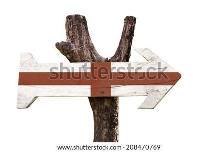 England wooden sign isolated on white background - stock photo
