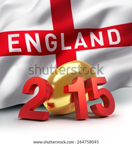 England 2015. Year illustrated with a golden rugby ball, a waving english flag behind - stock photo