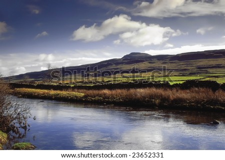 England, Yorkshire Dales National Park, River Doe Ingleborough Fell behind