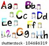English alphabet A-H. Not fully painted letters with paint dripping, brushes and paint cans. Raster version. - stock vector