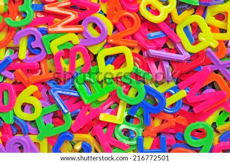 English alphabet and number for background.