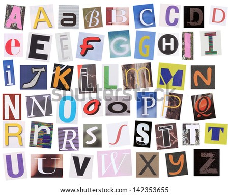 English alphabet cut from magazine isolated on white background