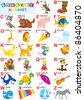 English alphabet for children with funny animals and toys - stock photo