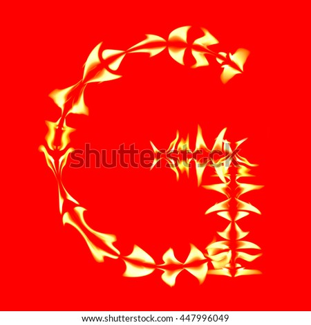 English alphabet from fire on red background