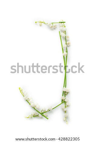 English alphabet from flower letters. creative decorative letter J