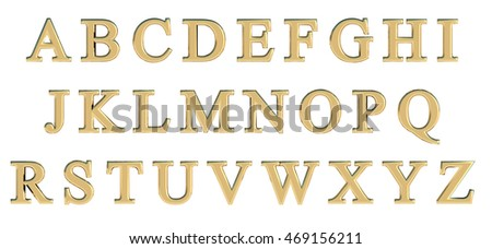 English Alphabet In Gold Capital Letters Times New Roman Custom 3D Font Variant