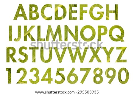 English alphabet letters and numbers with nature texture.