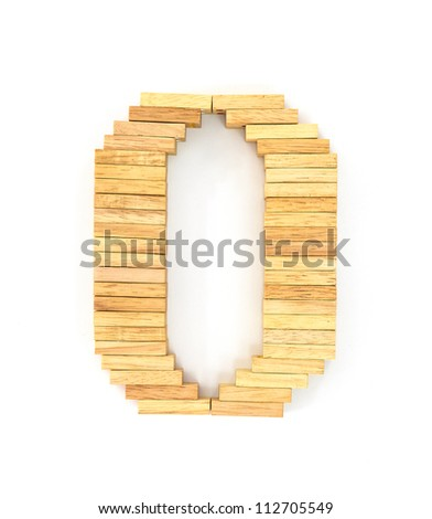 english alphabet  letters from wooden domino on white background, letter O