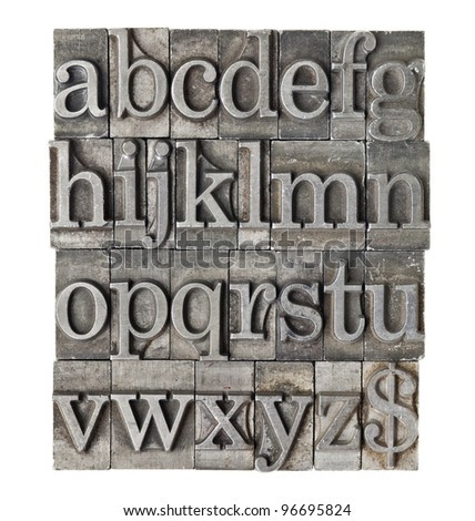 English alphabet (lowercase) and dollar sign in vintage grunge letterpress metal type - stock photo
