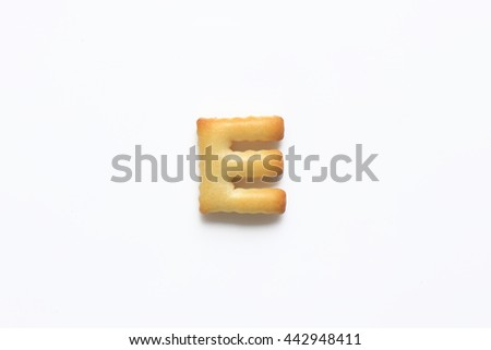 English alphabet made from bread.Letters of the British alphabet made of gingerbread. The letter e - stock photo