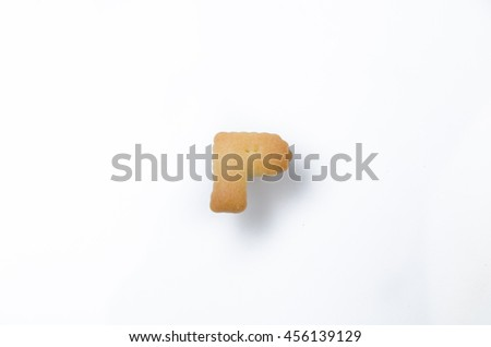 English alphabet made from bread. Letters of the British alphabet made of gingerbread. The letter P - stock photo