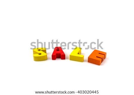 English alphabet, S.A.L.E. on white  background - stock photo
