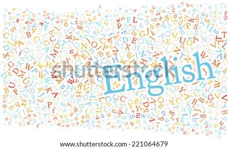 "english alphabet texture with the word ""english"" - high resolution - stock photo"