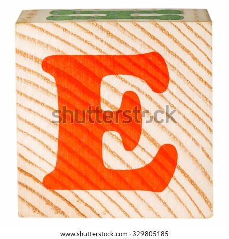 English alphabet, the letter E isolated on a white background - stock photo