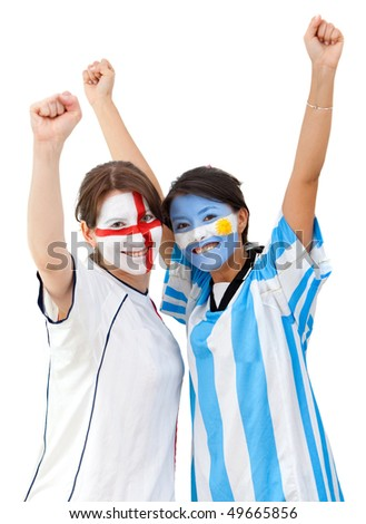 English and argentinean football fans celebrating isolated over a white background - stock photo