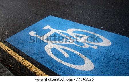 English bicycle lane sign - stock photo