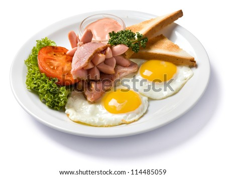 english breakfast isolated high angle view, with clipping path - stock photo