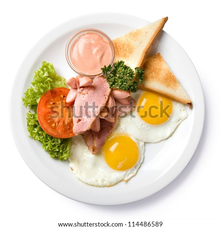 english breakfast isolated top view, with clipping path - stock photo